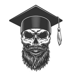 Skull in the graduated hat vector