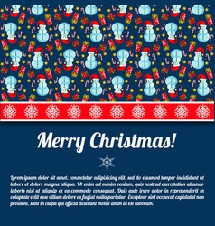 Snowman christmas postcard vector