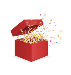 surprise box opening gift box with confetti vector image