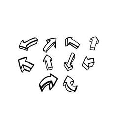 Thin line arrow icon set vector