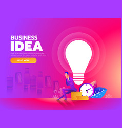 thinker businessman sitting with idea bulb and vector image