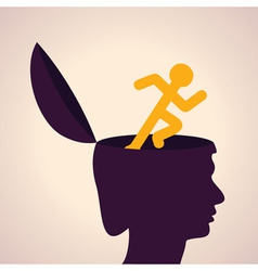 thinking concept-Human head with running man vector image