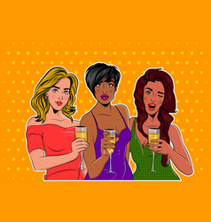 Three elegantly dressed girls pop art at a party vector