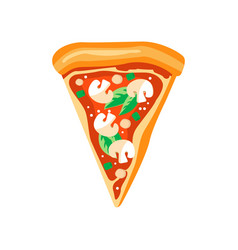 triangle slice of pizza with mushrooms basil vector image