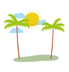 tropical palm trees exotic sun clouds summer vector image