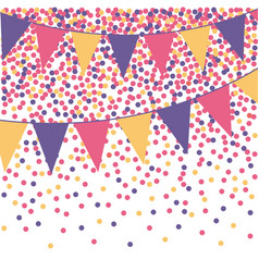 ultra violet bunting background with confetti vector image