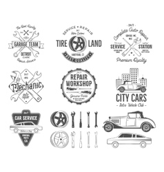Vintage car service badges garage repair retro vector