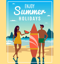 vintage summer poster with of couple vector image