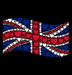 waving uk flag pattern of love heart icons vector image