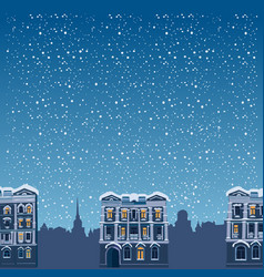 winter night landscape silhouettes of houses the vector image