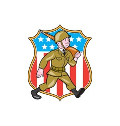 World War Two Soldier American Cartoon Shield vector image