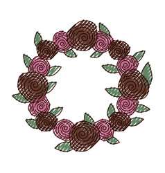 Wreath with roses decorative icon vector