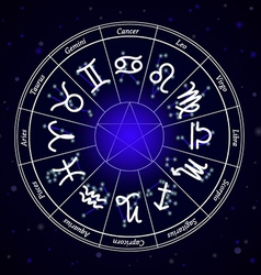 Zodiac Star Signs in Circle on Dark Background vector image