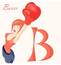 beautiful girl in boxing gloves alphabet abc vector image vector image