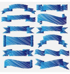 Blue scribbled ribbons and banners vector image vector image