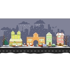 cute winter houses vector image