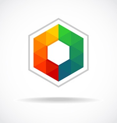 Hexagon with color triangles sign Abstract logo vector image vector image
