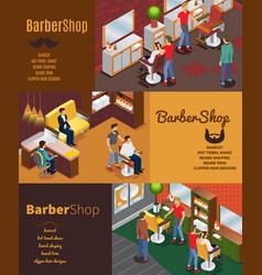 isometric barber shop horizontal banners vector image