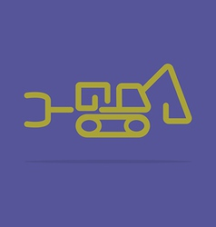 Linear tractor backhoe icon vector image vector image