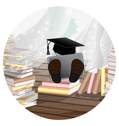 Student with laptop study vector image