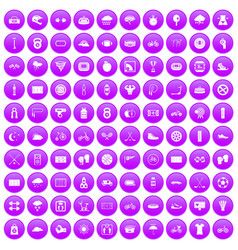 100 cycling icons set purple vector