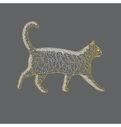 Abstract golden cat vector image