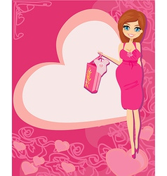 Beautiful pregnant woman on shopping for her new vector image vector image