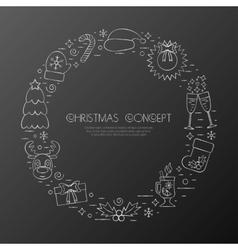 Christmas holidays circle frame with traditional vector image vector image