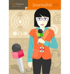 Female journalist with badge holding microphone vector image