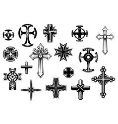 Religious crosses set vector image