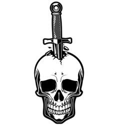 Skull stabbed by the dagger vector image