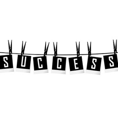 Success concept with photo frames hanging on rope vector image vector image