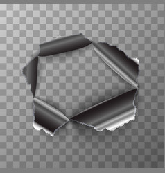 torn hole in glossy metal plate on transparent vector image