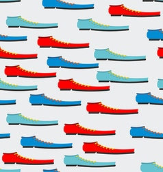 Trendy colorful shoes seamless pattern Background vector image