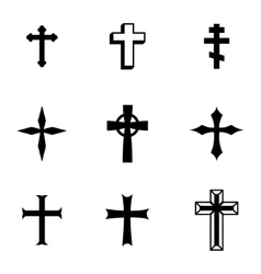 black christia crosses icons set vector image