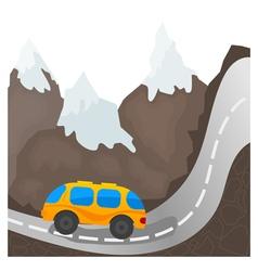 Cartoon bus on a mountain road vector image vector image