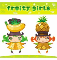 fruity girls series 4 banana pineapple vector image vector image