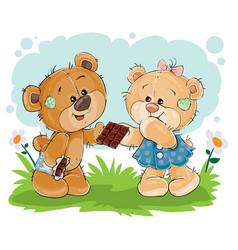 funny teddy bear sweet tooth treats his vector image