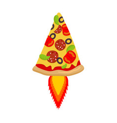 hot pizza rocket piece of fast food and flame vector image vector image