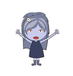 cartoon happy vampire girl Cute doodles drawings vector image