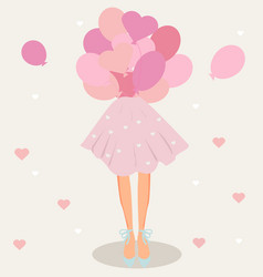 Cute curly girl with balloons vector