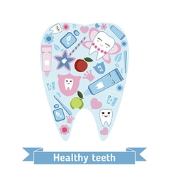 Dental care symbols in the shape of tooth vector image