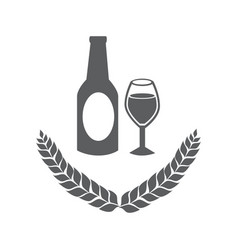 grayscale emblem of bottle and glass beer vector image