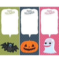 Halloween card set with pumpkin bat ghost vector image