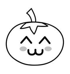 Line kawaii cute happy tomato vegetable vector