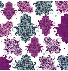 Seamless arabic hamsa hand background vector