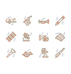 Simple color line icons for brass music vector image vector image