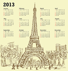 vintage hand drawn of eifel tower 2013 calendar vector image vector image