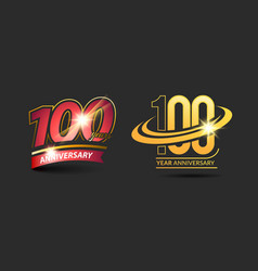 100 years red gold anniversary logo vector image