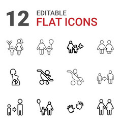 12 parent icons vector image